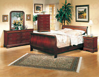 KING SIZE SLAY BED WITH 2 NIGHT STANDS AND DRESSER