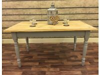 SOLID PINE 4FT FARMHOUSE TABLE IN FARROW & BALL CAN DELIVER