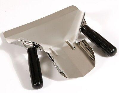 Stainless Steel Chip Bagger, Scoop Fries Bagger,  Black Dual Handle Fast Food