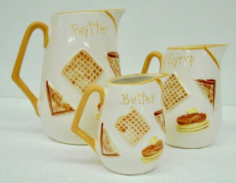 VTG 1963 Napcoware Batter Syrup Butter Pitchers Decanters Breakfast (3 PC Lot)