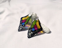 Transparent Rainbow Earrings - Butterfly Wing - Silver Plated