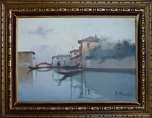 "Vintage Venice Cityscape Oil On Canvas Signed 28"" X 36"""