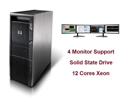Hp Z600 Workstation Trading Computer 12 Cores Ssd 2x Graphics Bluetooth Wi-fi
