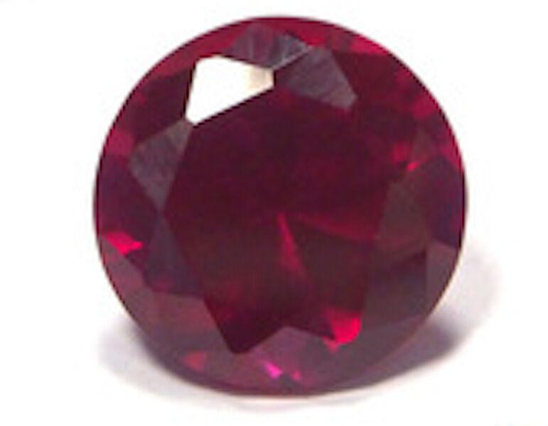 Lab Created Ruby Corundum Dark Pink Round Faceted Loose Stones (3mm - 12mm)