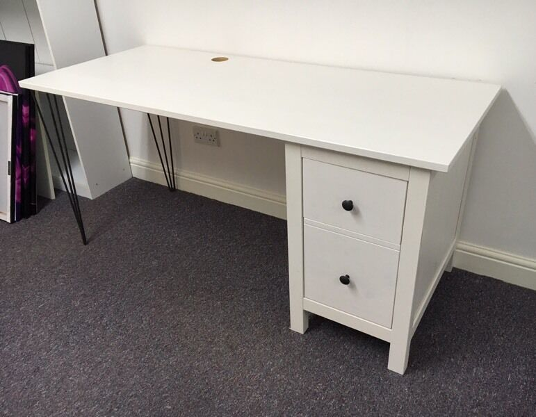 bargain beautiful stylish white ikea hemnes desk with hairpin legs in stockport manchester. Black Bedroom Furniture Sets. Home Design Ideas