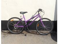 "LADIES PURPLE MOUNTAIN BIKE 18"" FRAME £45"