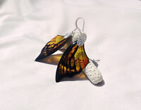 Transparent Clear YellowEarrings- Butterfly Wing - Silver Plated