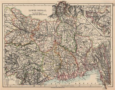 BRITISH INDIA NE.Lower Bengal.Nagpur Bihar Rajshah Sikkim Bardwan.Rail 1906 map
