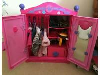 Build a bear pink wardrobe with clothes and accessories