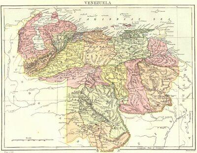VENEZUELA. Britannica 9th edition 1898 old antique vintage map plan chart