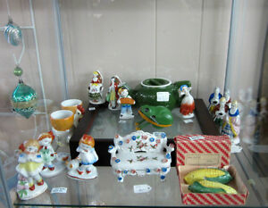 Selection of Occupied Japan figurines, toy frog, tea pot tea cup