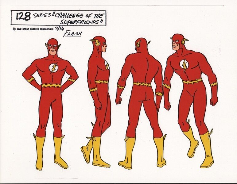 CHALLENGE Of The SUPER FRIENDS : FLASH MODEL SHEET DC Alex Toth
