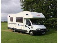 6 berth family motorhome for hire.