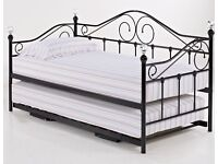 Crystal, finale, metal sofa bed, day bed, with under trundle, mattress.