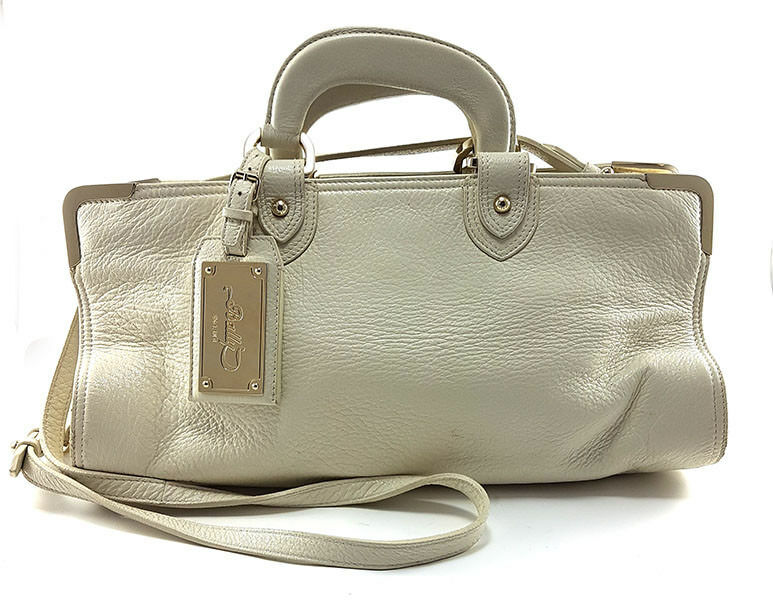 BALLY White Leather Shoulder Handbag