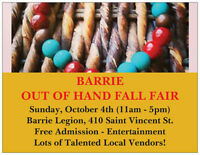 Vendors Wanted - Barrie 'Out of Hand' Fall Fair