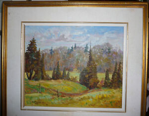 "Peter Stoyan (Stoyanoff) ""Sunlit Fields"" 1951 Original Oil Paint Stratford Kitchener Area image 1"
