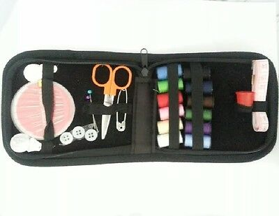 36 pc set Zipping Travel Sewing Kit  Needles, Thread, Scissors & more - Black