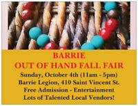 VENDORS WANTED: BARRIE OUT OF HAND FALL FAIR