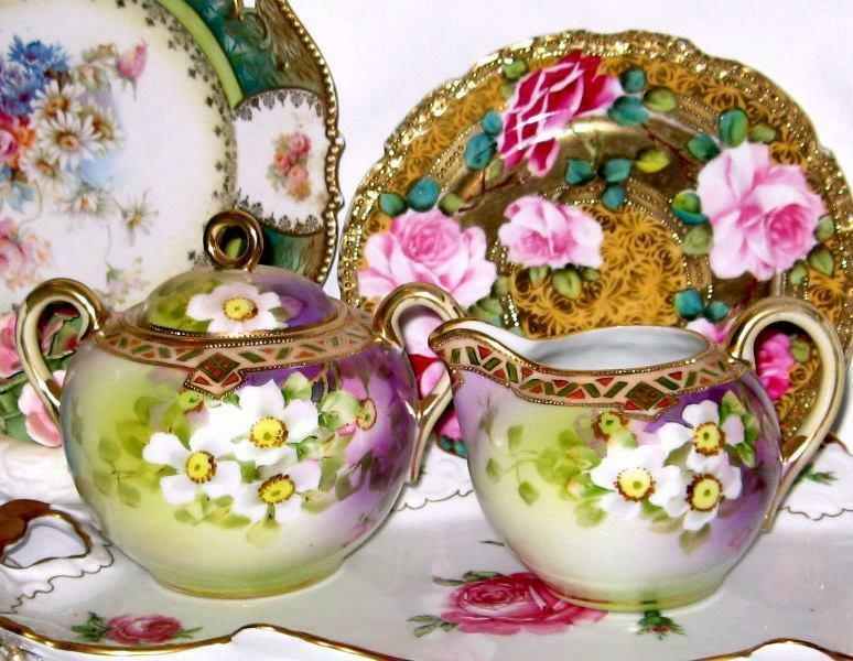 Antique Nippon Morimura Wild Roses Purple Sugar Creamer Hand Paint Gold Beading