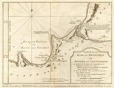 'La Rade de Benguela & Rivière de Cantonbelle'. Angola. BELLIN/SCHLEY 1748 map