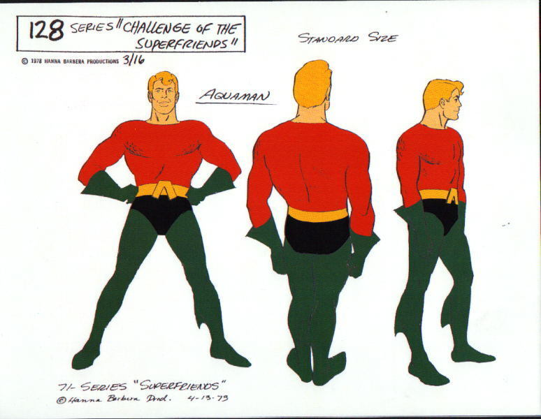 CHALLENGE Of The SUPER FRIENDS : AQUAMAN MODEL SHEET DC Alex Toth
