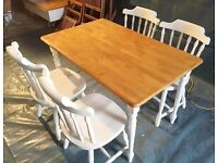 Restored Pine Dining Table and Chairs - Shabby Chic / Farmhouse / Country Style