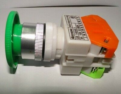 10a Cnc Green Momentary Emergency Stop Mushroom Pushbutton Switch 22mm Hole 1