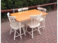 Shabby Chic Kitchen Dining Table and 4 Chairs