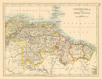 VENEZUELA / GUIANAS Suriname British French Dutch Guyana JOHNSTON 1892 old map