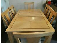 Dining table extending 8 chairs real wood