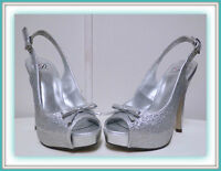 Cherish Collection Open Toe Silver Shoes