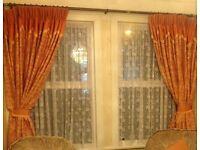 Cream and Orange curtains