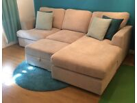Beautiful Silver Fabric Sofa & Footstool (Perfect Condition)