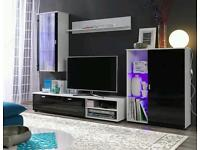 Living Room Furniture Set High Gloss TV Unit Wall Cabinet Cupboard with LED lights FREE DELIVERY