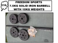 7.5KG MENS HEALTH SOLID IRON BARBELL PLUS CLIPS AND 10KG VINYL WEIGHTS (BNB)