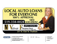 Auto Loans!  You are Approved with Velvet Financing!