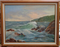 "Authentic Oil on Canvas ""Maine Waves"" Lorraine Fitzpatrick"