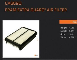 Fram CA 6690 Air filter Toyota 4 cya Pickups Tacoma apps listed