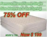 Brand New Single Size Mattress & Box Spring Only $199 @ Macini