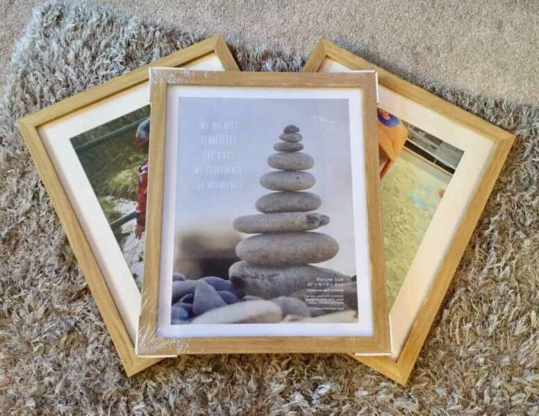 "The Range, New 3 x Extra Large wood picture / photo frames with mounts. 20"" x 16"""