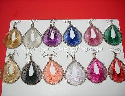12 Pairs of Multicolor Metallic Thread Earrings handmade Medium Size # 225