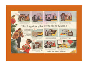 1956 two-page (21 x 15) authentic magazine ad for Kodak Cameras
