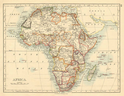 COLONIAL/TRIBAL AFRICA British East/Central/South Africa JOHNSTON 1892 old map