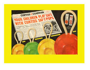 1948 original 2-page, color print ad for Curtiss Saf-T-Pops