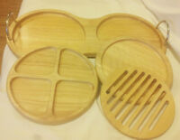 NEW!!  RUBBERWOOD CHEESE/NUTS PLATTER-MADE IN THAILAND