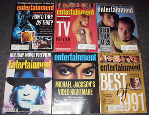 Entertainment Weekly Magazines 1991, 1992, 1993, 2009