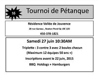 Tournoi de Pétanque  27 Juin, 2015  Roxton Pond
