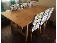 IKEA Extending Wooden Table and 6 Chairs