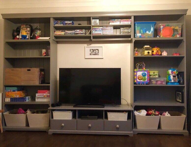 Ikea Liatorp Grey Bookshelves Tv Storage Combi Unit In